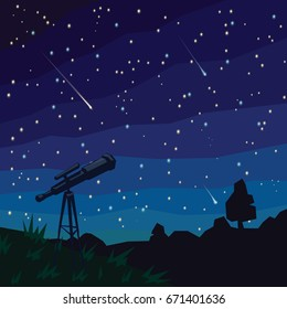 Stargazing. Three Falling Stars. Natural landscape, night starry sky and telescope on foreground. Meteor shower. Asteroids. Colorful illustration in flat faceted style. Scene for your design.
