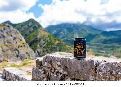 Stari Bar, Montenegro - August 27th 2019. Can of Royal Crown Cola on the walls of an old bar