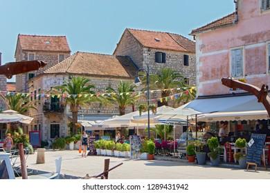 STARI GRAD, CROATIA - August 21, 2018: Town of Stari Grad with shops and in Hvar, Croatia