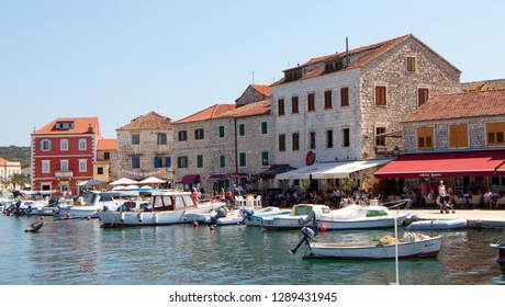 STARI GRAD, CROATIA - August 21, 2018: Old town of Stari Grad with ships and boats in Hvar, Croatia