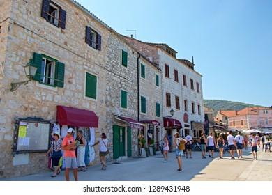 STARI GRAD, CROATIA - August 21, 2018: Old town of Stari Grad with shops  in Hvar, Croatia