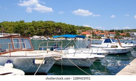 STARI GRAD, CROATIA - August 21, 2018: Old town of Stari Grad with ships and boats in Hvar, Croatia