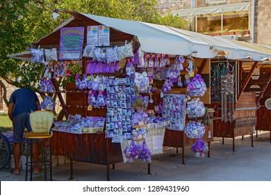 STARI GRAD, CROATIA - August 21, 2018: Stall with lavender goods in old town of Stari Grad  in Hvar, Croatia
