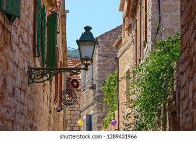 STARI GRAD, CROATIA - August 21, 2018: Beautiful streets of Old town of Stari Grad  in Hvar, Croatia