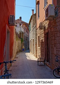 STARI GRAD, CROATIA - August 21, 2018: Street in  old town of Stari Grad in Hvar, Croatia