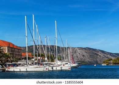 STARI GRAD, CROATIA, September 11, 2018: Boats in the port of Stari Grad. The oldest town on the Croatian island of Hvar