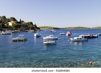 STARI GRAD, CROATIA - SEPTEMBER 8, 2014: Boats at marina ini Stari Grad on Hvar island, Croatia. Stari Grad (Pharos) is the oldest town in Croatia and one of the oldest towns in Europe
