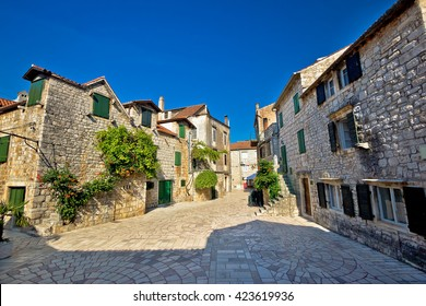 Stari Grad on Hvar i sland old paved street, Dalmatia, Croatia
