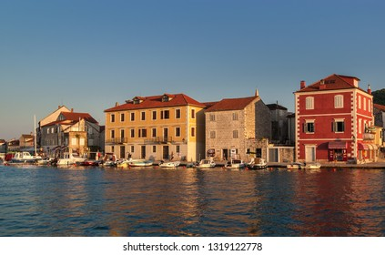 Stari Grad/Croatia- Sep 5, 2019 Seafront picturesque view of Stari Grad (Old Town) at sunset in Hvar Island. The most ancient part of town falls within the UNESCO Protected World Heritage Site.