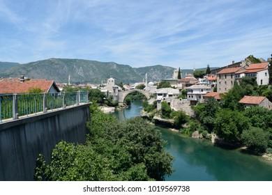 The Stari Most bridge in Mostar, Bosnia & Herzegovina on a sunny day