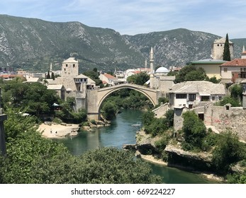 Stari Most bridge in Mostar, Bosnia and Herzegovina in 2017