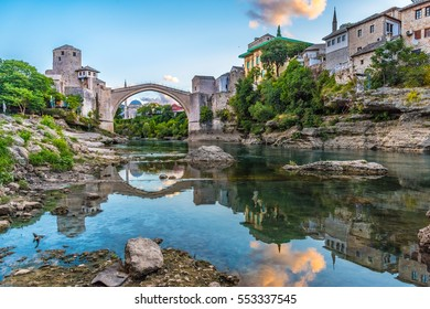 Stari Most Bridge at sunrise in Mostar, Bosnia and Herzegovina. Beautiful old ancient bridge to protect the historic city