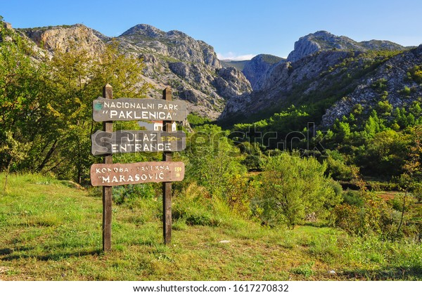 Starigrad/Croatia - 09/26/2019: The Paklenica karst river canyon, a national park in Croatia.Northern Dalmatia, on the southern slopes of Velebit mountain. Velika (Big) Paklenica. Information boards.