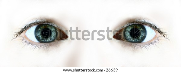 Staring eyes from a plain white background.