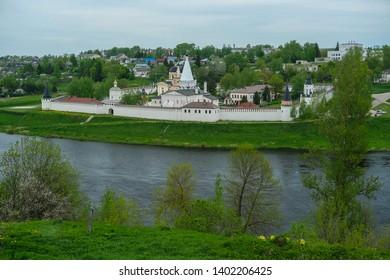 Staritsa, Russia - May, 19, 2019: Holy Assumption Monastery in Staritsa, Russia