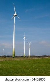 Stark White Electrical Power Generating Wind Turbines