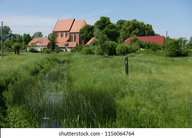 Starkow, Mecklenburg-Vorpommern/Germany - May 29, 2018: Church and Rectory