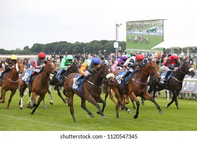 Starlight Romance ridden by Paul Hanagan winning the Irish Thoroughbred Marketing Stakes over 7f at York Races : The Knavesmire, York Racecourse, Nth Yorkshire, UK : 15 June 2018 : Pic Mick Atkins