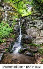 Starohutsky waterfall, Stara Huta, Slovak republic. Seasonal natural scene.