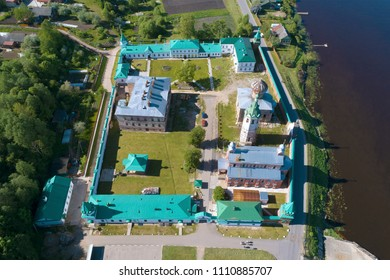 Staroladozhsky Nikolsky Monastery on a sunny day. View from above. Old Ladoga Russia