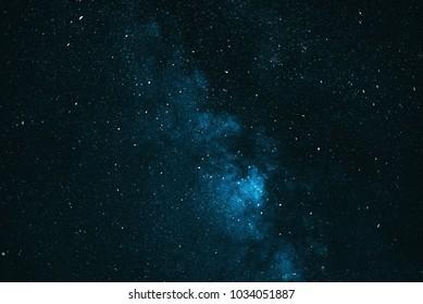 Starry blue night sky. The milky way.