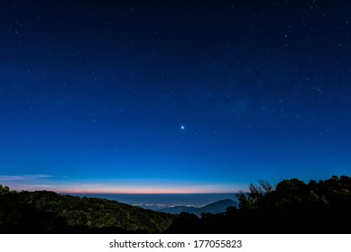 Starry in blue sky night time scene with milky way high iso