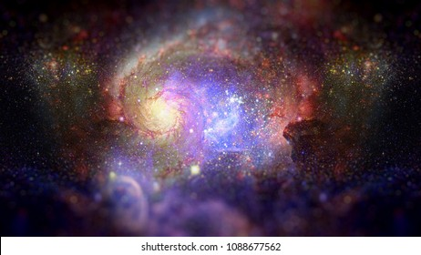 Starry deep outer space - nebula and galaxy. Science fiction art with small DOF. Elements of this image furnished by NASA.