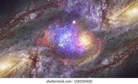 Starry deep outer space - nebula and galaxy. Night sky. Elements of this image furnished by NASA.
