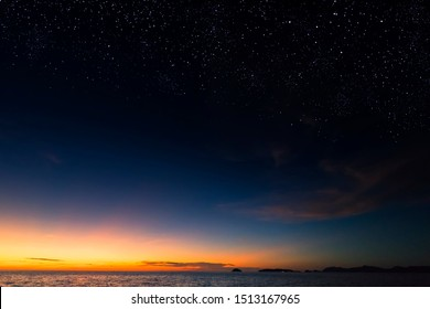 Starry dusky sky scenery over the sea.