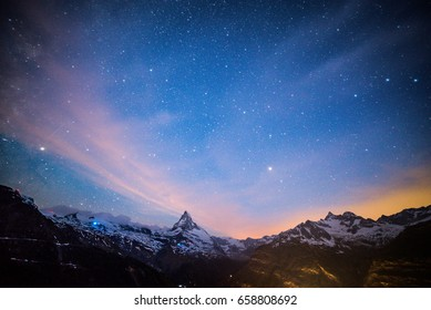 Starry night in Alps, Matterhorn Peak, Zermatt, Switzerland