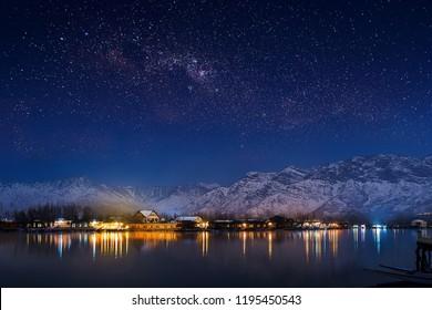 Starry Night in India Kashmir Dal Lake