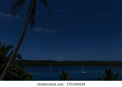 Starry night landscape in Tonga.
