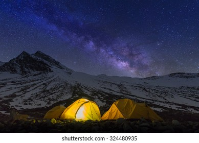 Starry night at Larkya pass on the way of Manaslu circuit, Nepal