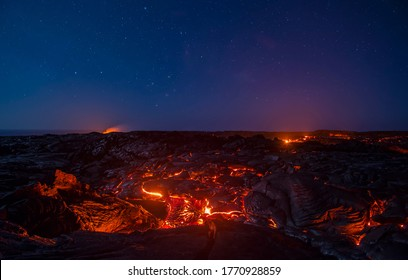 starry night and lava flow