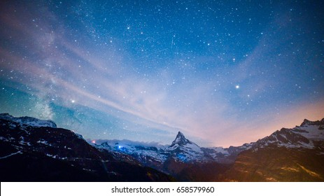 Starry night, Matterhorn Peak, Zermatt, Switzerland.