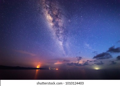 Starry night with Milky way at Kudat Sabah Malaysia. Image contain soft focus and blur due to wide aperture and long exposure. image also contain grains and noise due to high ISO.