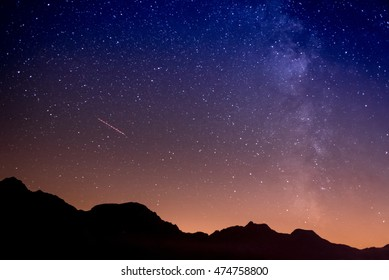 Starry night and milky way on the mountains