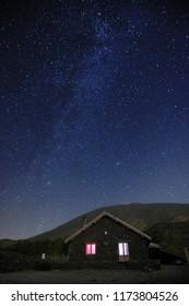starry night on Galvarina Refuge in Etna Park, Sicily