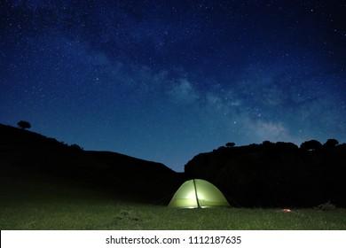 starry night on lighting tent in Nebrodi Park, Sicily