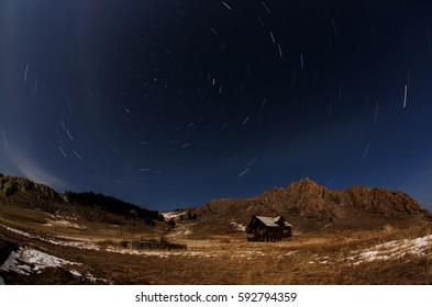 Starry night over the Uzel of the Olkhon island in winter