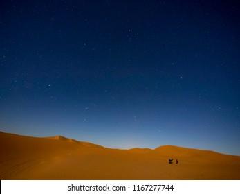 Starry night in Sahara Desert