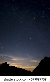 Starry night sky above the fading light of the setting sun above mountainous scenery.