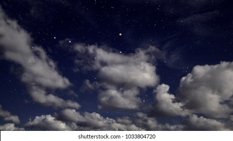 Starry night sky with clouds