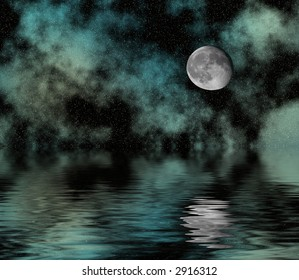 Starry night sky with moon reflected over water