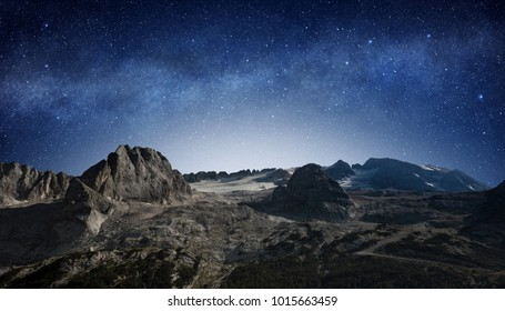starry night sky in a mountain landscape