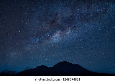 starry night sky mountains and star path