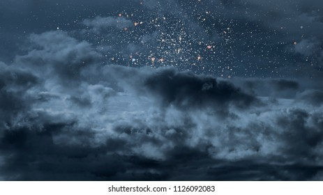 Starry night with some strong clouds
