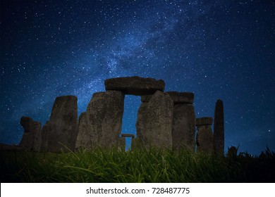 Starry Night Stonehenge - one of the wonders of the world and the best-known prehistoric monument in Europe Salisbury, United Kingdom