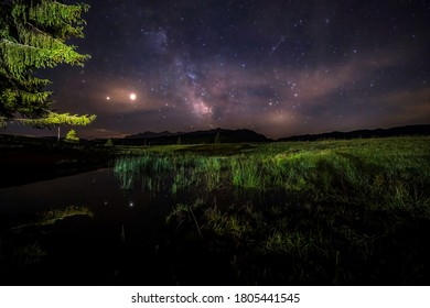 A starry night with thee Milky Way partly reflecting in a little pond at the so called Winklmoosalm in the Mountains of Reit im Winkl in Bavaria, Germany.