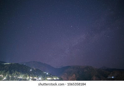 starry sky above Himalayas mountains in Dharamshala, India